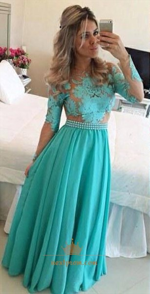 Turquoise Long Sleeve Beaded Waist Backless Chiffon Evening Dress