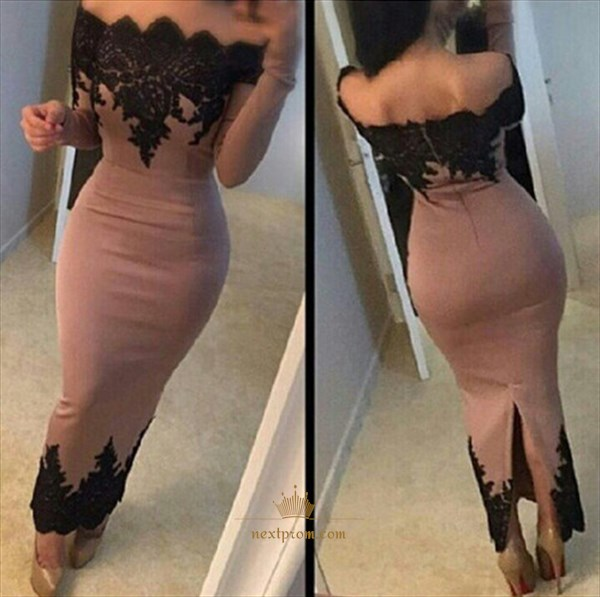 Black Lace Off The Shoulder Long Sleeve Bodycon Sheath Evening Dress