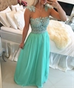 Turquoise Sleeveless Sheer Floral Beaded Bodice Chiffon Prom Dress