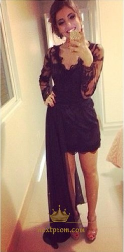 Black Sheer Lace Long Sleeve V Neck Short Dress With Detachable Train