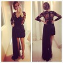 Black Sheer Lace Long Sleeve V Neck Short Dress With Detachable Train