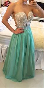 Turquoise Sheer Sleeveless Applique Beaded Bodice Long Prom Dress