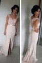 Sleeveless Illusion Back Lace Bodice Chiffon Dress With Front Split