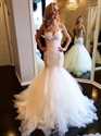 White Lace Spaghetti Strap Sheath Mermaid Wedding Dress With Open Back