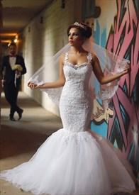 White Floral Applique Strap Illusion Back Mermaid Long Wedding Dress