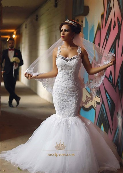 White Floral Applique Strap Illusion Back Mermaid Long Wedding Dress