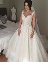 Sleeveless Lace Applique Bodice Illusion Back Ball Gown Wedding Dress
