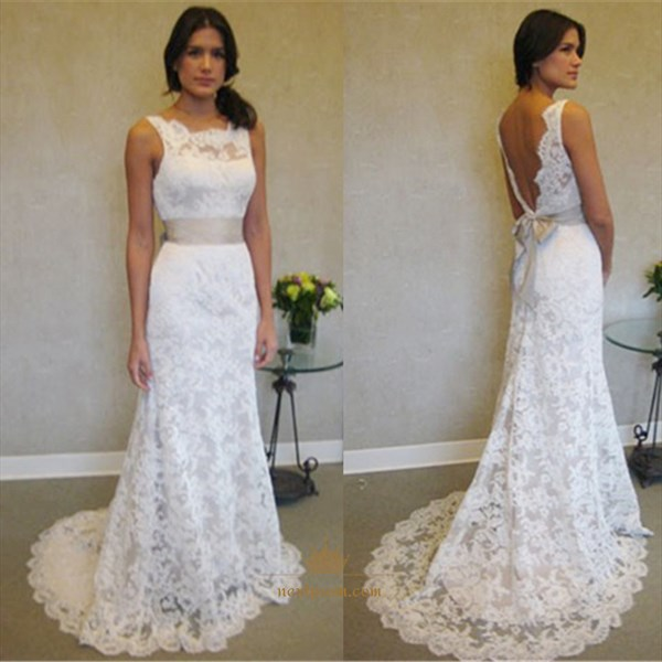 White Sleeveless Backless Lace Overlay Mermaid Prom Dress With Ribbon