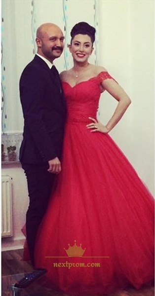 fb938eb0740 Elegant Red Lace Off The Shoulder A Line Floor Length Ball Gown Dress