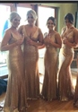 Champagne Sequin Sleeveless V Neck Mermaid Long Bridesmaid Dress