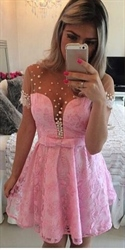 Pink Illusion Short Sleeve Beaded Bodice Lace Short Cocktail Dress