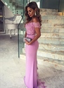 Lace Applique Off Shoulder Backless Sheath Prom Dress With Lace Detail
