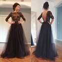 Black Lace Applique Long Sleeve Floor Length Prom Dress With Open Back
