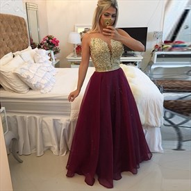 Fuchsia Sleeveless Beadede Bodice Sheer Back Chiffon Long Prom Dress