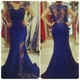 Royal Blue Sheer Long Sleeve Illusion Lace Floral Applique Prom Dress