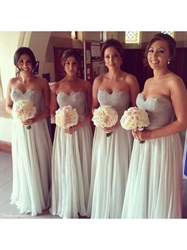 Strapless Sweetheart Lace Bodice A Line Chiffon Long Bridesmaid Dress
