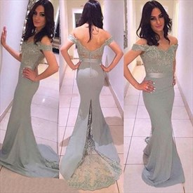 Off The Shoulder Lace Embellished Sheath Prom Dress With Open Back