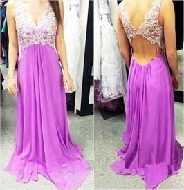 Lavender Lace Applique Bodice V Neck Keyhole Back Long Chiffon Dress
