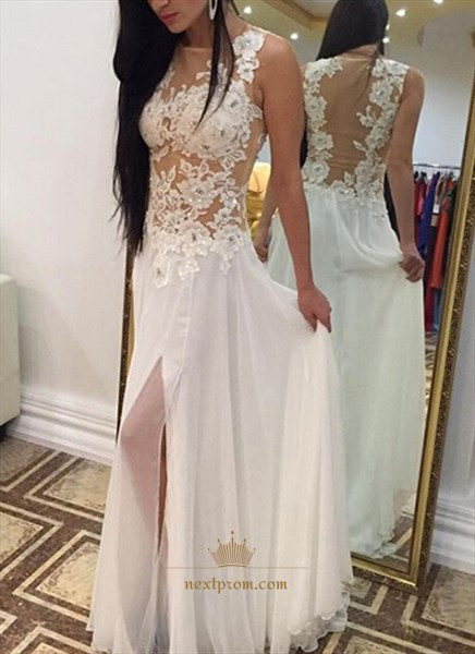 White Sleeveless Illusion Lace Floral Bodice Front Split Prom Dress