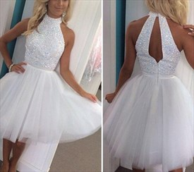 White Halter Neck Sequin Bodice Tulle Skirt Short Homecoming Dress
