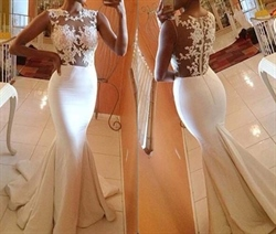 White Sleeveless Illusion Floral Applique Sheath Mermaid Prom Dress