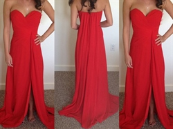 Red Strapless Sweetheart Neckline Chiffon Long Dress With Side Split