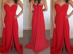Red Strapless Sweetheart Neckline Chiffon Long Dress With Side Split