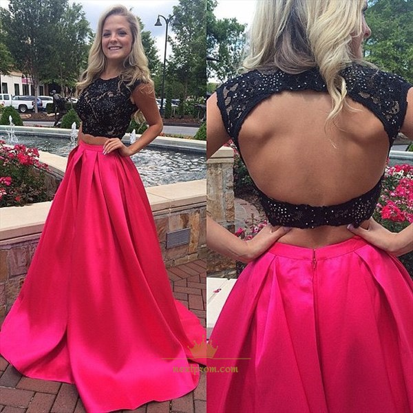 Cap Sleeve Black And Fuchsia Two Piece Prom Dress With Keyhole Back