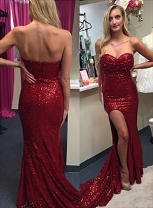 Burgundy Sequin Strapless Sweetheart Sheath Prom Dress With Side Split