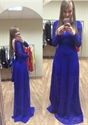 Royal Blue Long Sleeve Backless Floor Length Lace Prom Dress With Bow