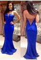 Royal Blue Illusion Halter Beaded Neck Backless Mermaid Prom Dress