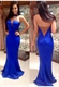Royal Blue Illusion Halter Beaded Neck Backless Mermaid Prom Dress