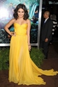 Yellow Strapless Pleated Sweetheart Neckline Chiffon Long Prom Dress