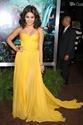 Yellow Strapless Pleated Sweetheart Neckline Chiffon Long Prom Dress