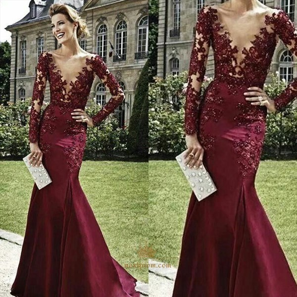 Burgundy Long Sleeve Illusion Lace Applique V Neck Mermaid Prom Dress