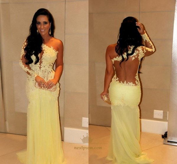 One Shoulder Illusion Lace Floral Applique Bodice Chiffon Prom Dress