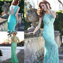 Turquoise Sleeveless Keyhole Back Sheath Mermaid Lace Prom Dress