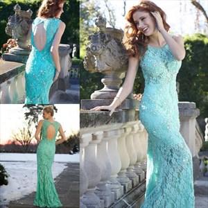 Turquoise Sleeveless Keyhole Back Sheath Mermaid Lace Prom Dress