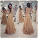 Champagne Sleeveless Open Back Lace Bodice Chiffon Bottom Prom Dress