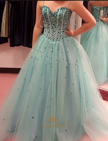 Strapless Sweetheart Neckline Sequin Embellished Ball Gown Prom Dress