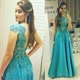 Turquoise Cap Sleeve Lace Applique Bodice Sheer Back A Line Prom Dress