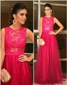 Elegant Fuchsia Sleeveless Illusion Lace Bodice And Tulle Prom Dress