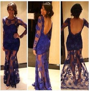 Royal Blue Illusion Long Sleeve Backless Lace Overlay Long Prom Dress
