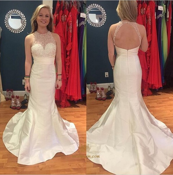 White Sleeveless Illusion Halter Neck Keyhole Back Mermaid Prom Dress
