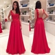Red Sleeveless Lace Applique Bodice Open Back Chiffon Long Prom Dress
