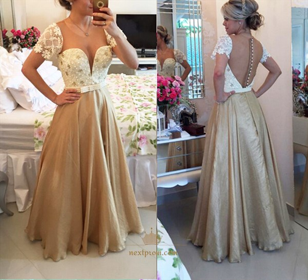Champagne Lace Short Sleeve Beaded Bodice Sheer Back Long Prom Dress