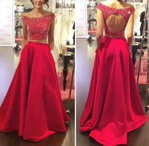 Red Off The Shoulder Beaded Bodice Keyhole Back Two Piece Prom Dress