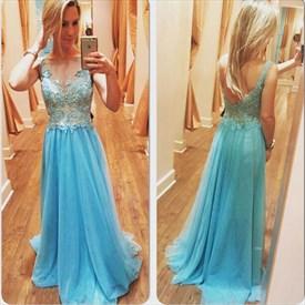 Sky Blue Sleeveless Illusion Lace Bodice Backless Long Prom Dress