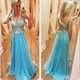 Sky Blue Sleeveless Illusion Lace Bodice Backless Long Prom Dress