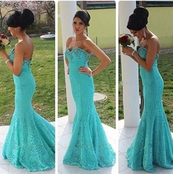 Turquoise Strapless Beaded Sweetheart Neck Lace Mermaid Prom Dress